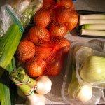 Fast sechs Kilo Gemüse: Karotten (nicht im Bild), Lauch, Zwiebeln, Knoblauch, und Fenchel